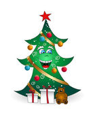 Christmas cartoon smiling tree — Stock Vector