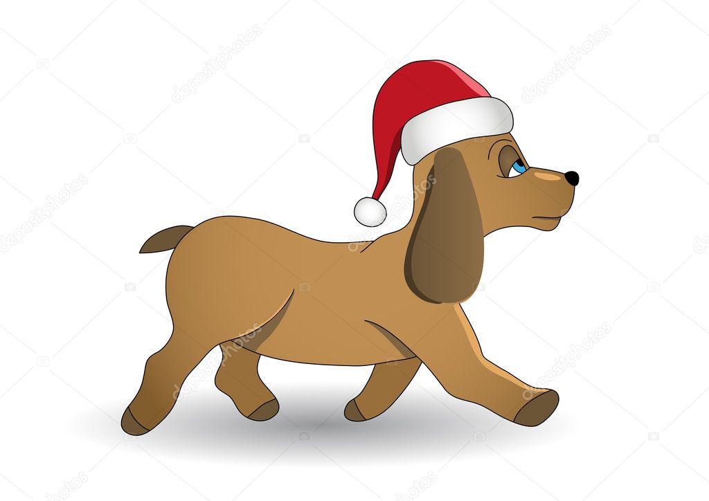 Christmas dog vector illustration. Fully editable. No flatten transparency. — Stock Vector #7581149