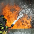 Stock Photo: Firefighters who extinguished fire during exercise