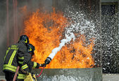 Firefighters who extinguished a fire during an exercise — Stock Photo