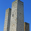 Twin tower of the town of San Gimignano, the Tuscan city of towers — Stock Photo