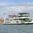 Ship type ferry boat to transport vehicles in the lagoon — Stock Photo