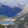 Fedaja lake at the foot of the Marmolada glacier - 