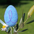 Stock Photo: Blue Easter eggs and daisy flowers and olive branch