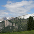 Peaks of the Dolomite mountains in the Alps in summer in Val di Fassa — Stock Photo #7129021