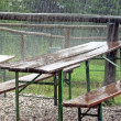 Picnic tables for a feast abandoned during the shower — Stock Photo