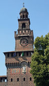 Brick Tower of the castello sforzesco in Milan — Stock Photo