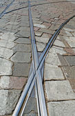 Schimmernde Straßenbahn auf Marmorboden in Italien — Stockfoto