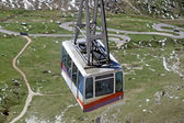 Cable car that comes on top of the mountain in Val di Fassa Pordoi Sass — Stock Photo