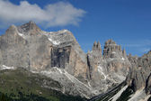 View of the mountains of the Dolomites of Val di Fassa in Italy — Stock Photo