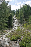 Waterfalls in the valley of St. Nicholas in the Dolomites in Italy — Stock Photo