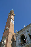 Tower of Basilica Palladiana design by Andrea Palladio with clock — Stock Photo