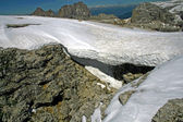 Ice and snow on the Sass Pordoi in Val di Fassa — Stock Photo