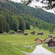 Barns and green forests in the valley of St. Nicholas — Stock Photo
