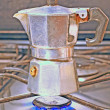 Home-prepared coffee in the kitchen in Italy — Foto Stock