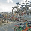 Bicycle parking lot in a Dutch port - Stock Photo