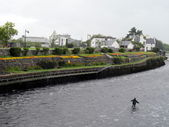 Fishermen in the middle of the River in a small village in Ireland — Stock Photo
