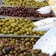 Trays full of delicious Mediterranean green olives — Stock Photo