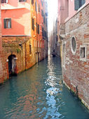 Narrow channel of water for navigation in venice — Stock Photo