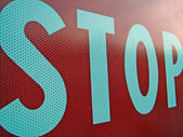 Road sign stop photographed at close — Fotografia Stock