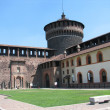 Tower of the Castello sforzesco in Milan, Italy - Stock Photo