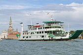 Ship type ferry boat to transport vehicles in the lagoon — Stok fotoğraf
