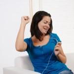 Woman listening to music — Stock Photo #7314367
