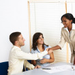 Young business greetings — Stock Photo