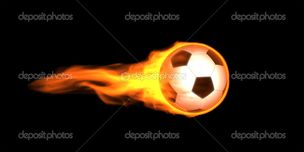 Fire Soccer ball image. On black background. — Stock Photo #7283708