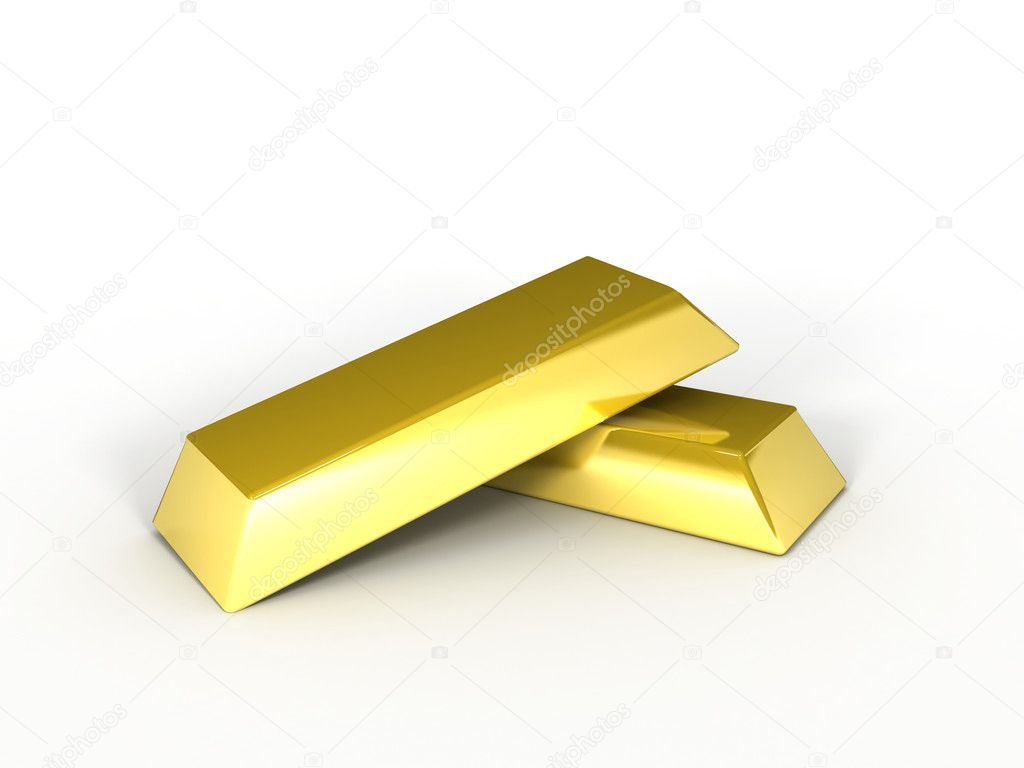 A 3d image of golden ingots on white background. — Stock Photo #7285336