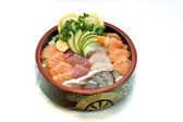 Japanese Food, Bowl of Sashimi, Raw Fish, Salmon, Tuna — Stock Photo