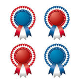 Red white blue rosette with ribbon — Stock Vector