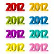 2012 Year 3D numbers — Stock Vector