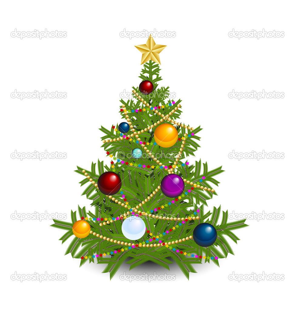 Christmas tree with star, chains and balls isolated on white background — Stock Vector #7114527