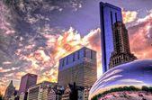 Sunset & Millenium Park — Stock Photo