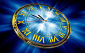 Gold clock on abstract blue background — Stockfoto