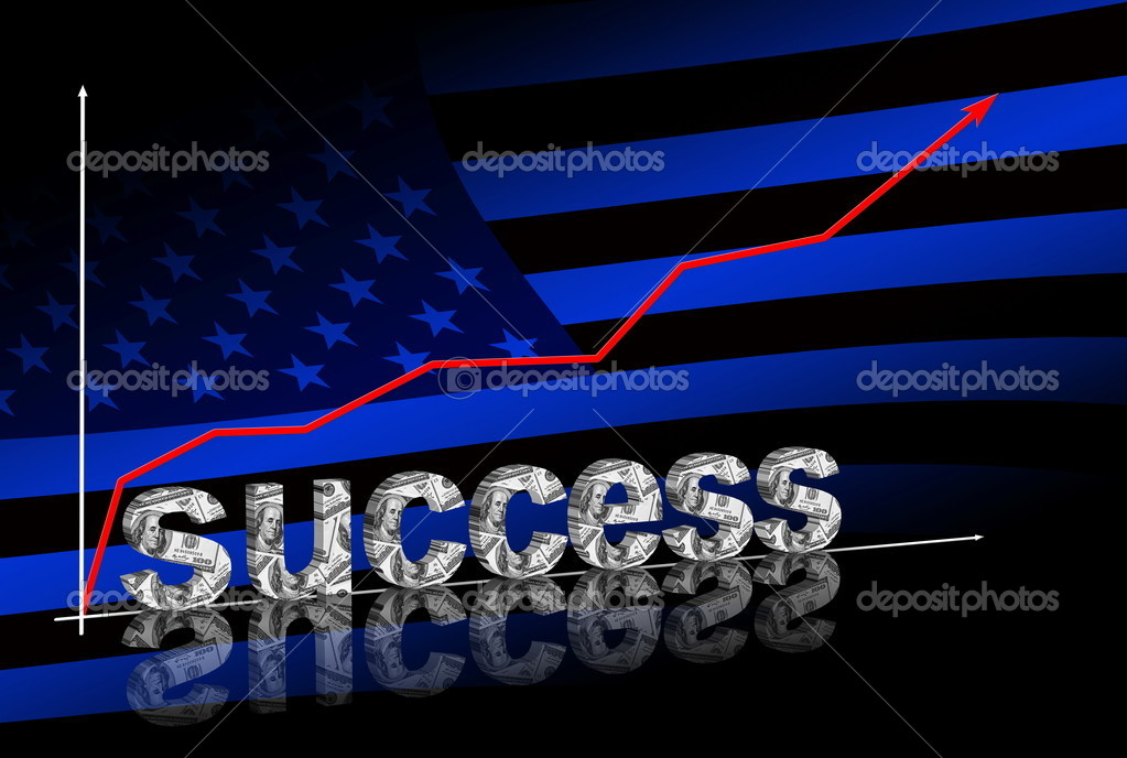 Success title & red graph going up on dark blue background with american flag — Stock Photo #7145386