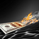 Burning one hundred dollars banknote — Stock Photo #7265788