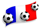 Soccer balls & flag of France — Stock Photo