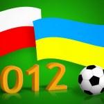 Polish & ukrainian flags, soccer balls and 2012 number — Stock Photo