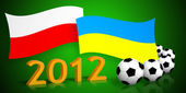 Polish & ukrainian flags, soccer balls and 2012 number — Stock Photo