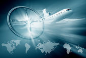 Airplane, compass, continent maps on blue background — Stock Photo
