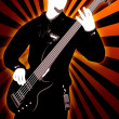 Guitarist silhouette on abstract background — Stock Photo #7620424