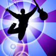 Jumping man with guitar silhouette on abstract background — Stock Photo