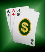 Three ace cards with dollar symbol — Stock Photo