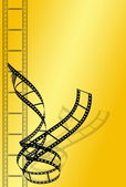 Film strip on yellow background — Stock Photo