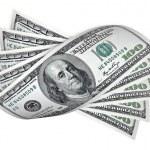 One hundred dollar banknotes on white — Stock Photo