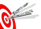 Target & 100 dollars banknotes — Stock Photo