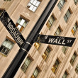 Wall street and Broadway street sign — Stock Photo