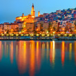 Stock Photo: Provence village Menton night reflection